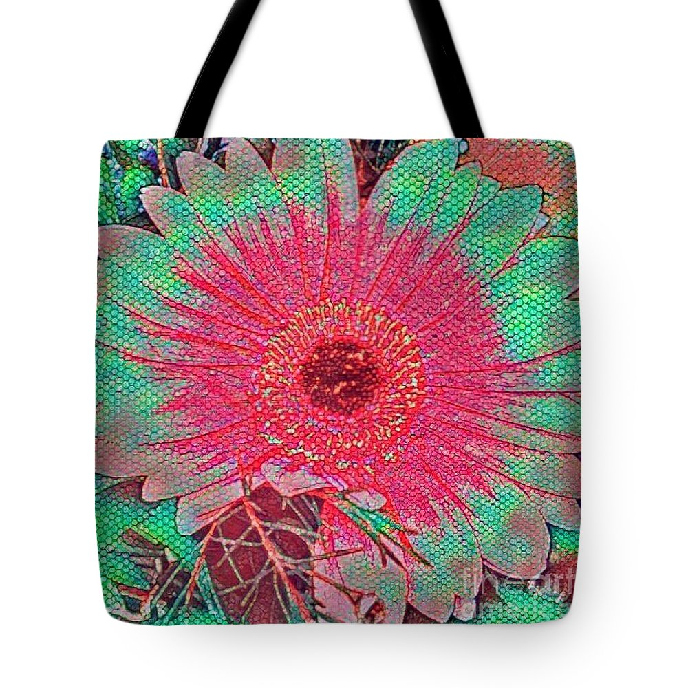 Digital Tote Bag featuring the mixed media Red And Green Bloom by Steven Wills