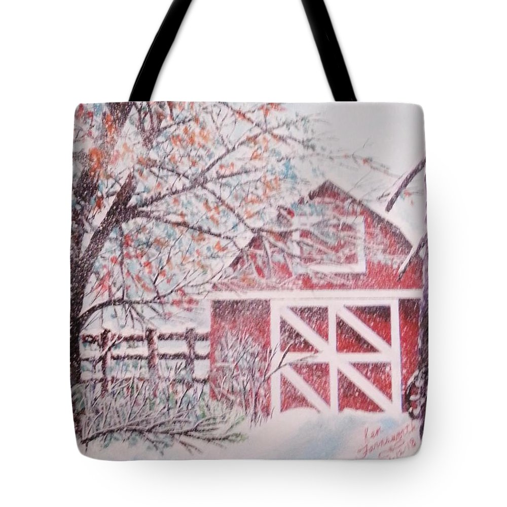 Landscape Tote Bag featuring the painting Red Barn by Ken Farnsworth