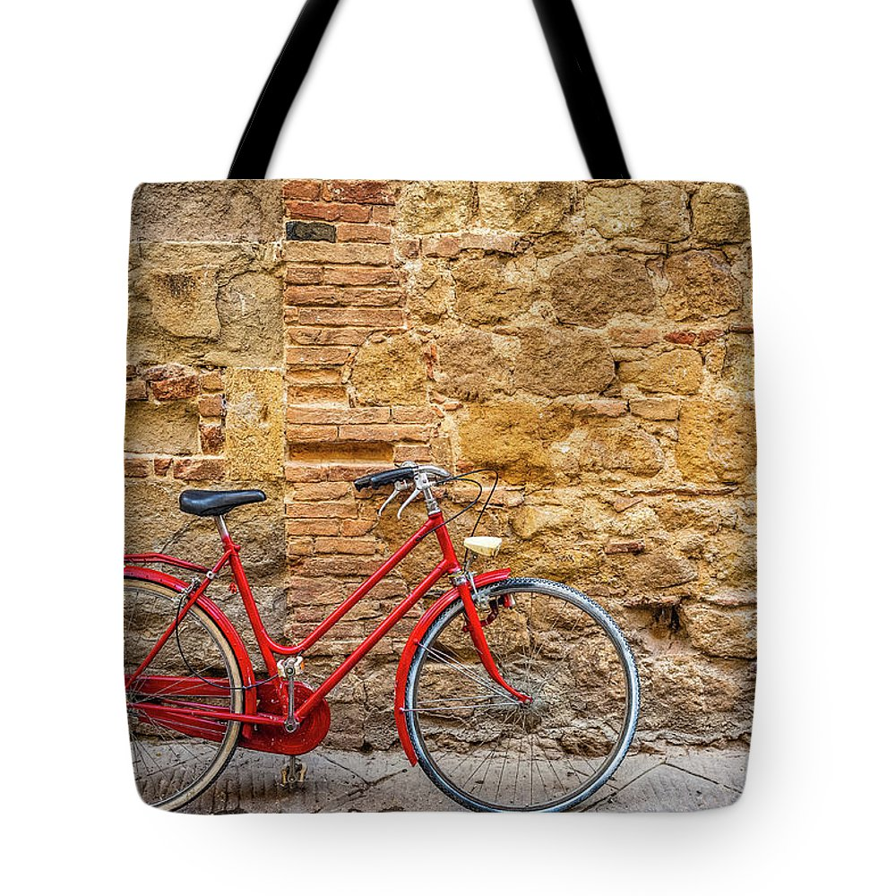 Stained Tote Bag featuring the photograph Red Bicycle by Deimagine