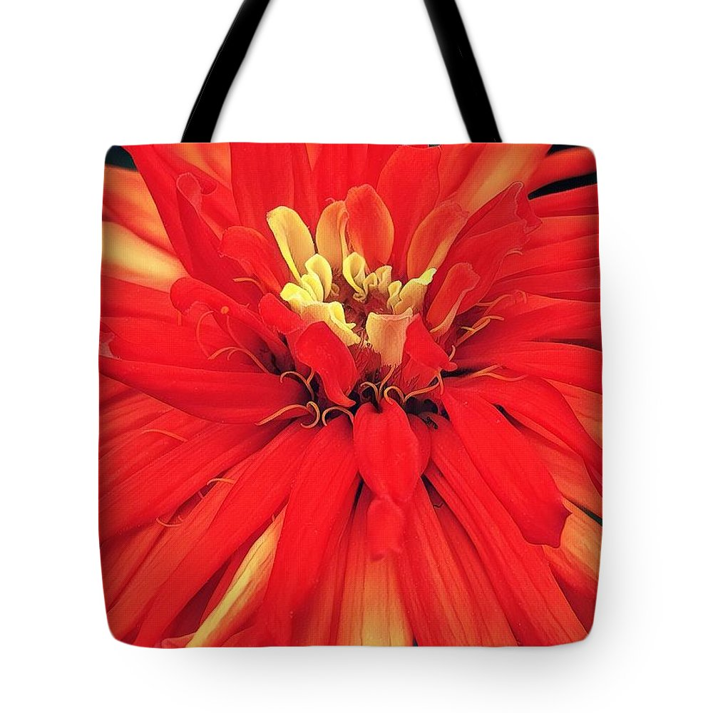 Red Tote Bag featuring the digital art Red Bliss by Cindy Greenstein