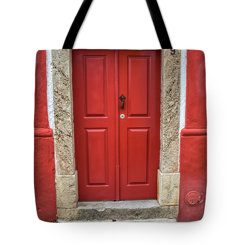 Door Tote Bag featuring the photograph Red Door Nine Of Obidos by David Letts
