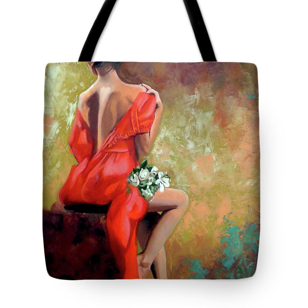 Women Tote Bag featuring the painting Red Lady 2 by Jose Manuel Abraham