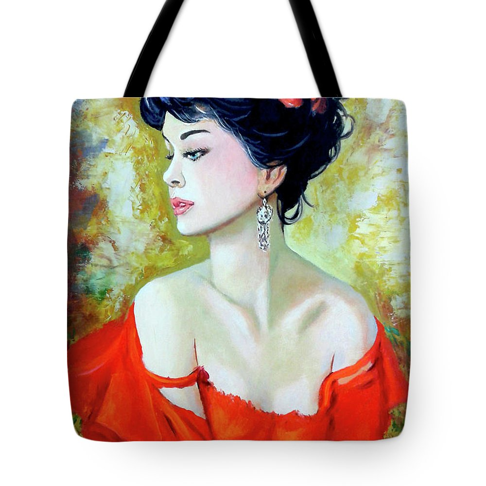 Lady Tote Bag featuring the painting Red Lady by Jose Manuel Abraham
