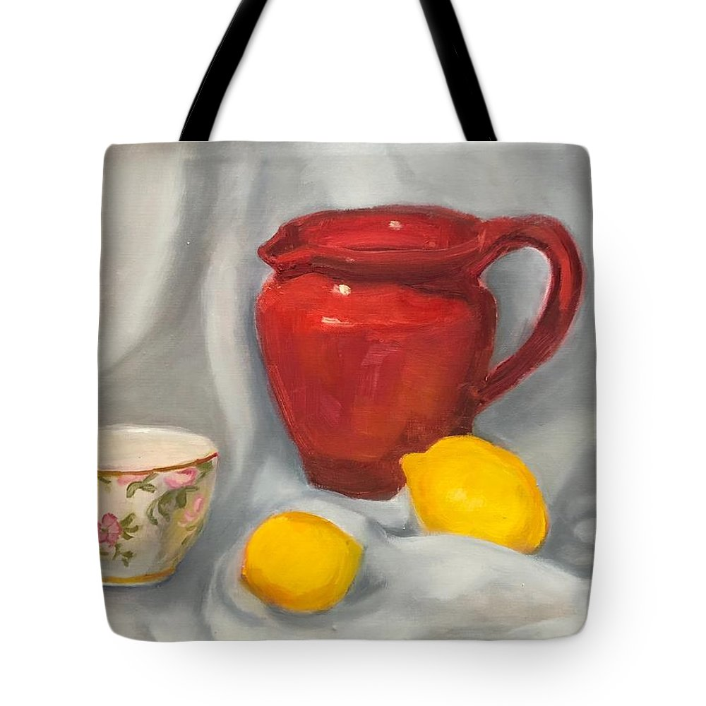 Original Artwork Tote Bag featuring the painting Red Pitcher by Angela Pierce