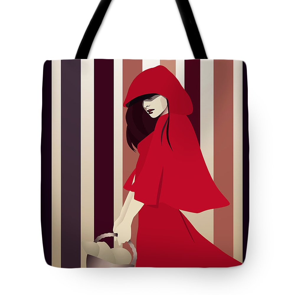Red Riding Hood Tote Bag featuring the digital art Red Riding Hood by Hannah Coley