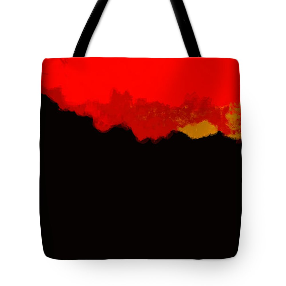 Landscape Tote Bag featuring the digital art Red Sky At Night by Juan Carlos Rios