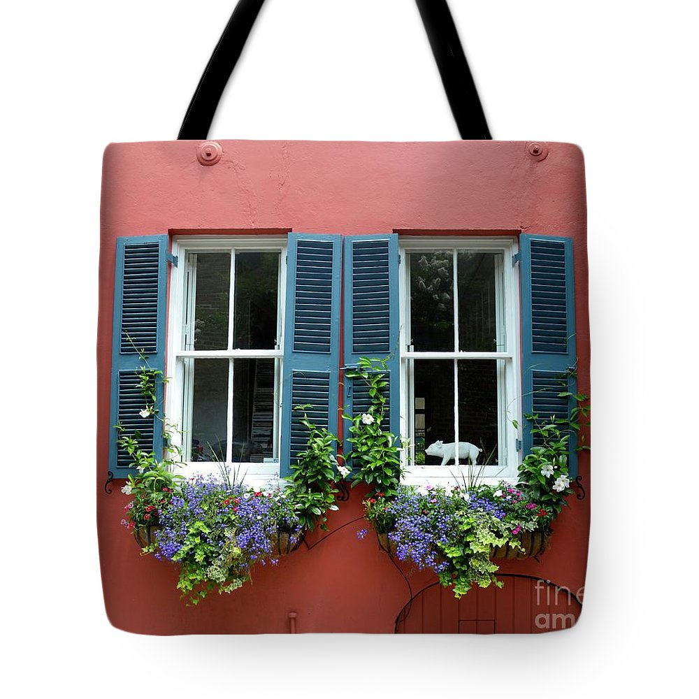Shutter Tote Bag featuring the photograph Red Wall With Windows, Charleston by Mark Swick