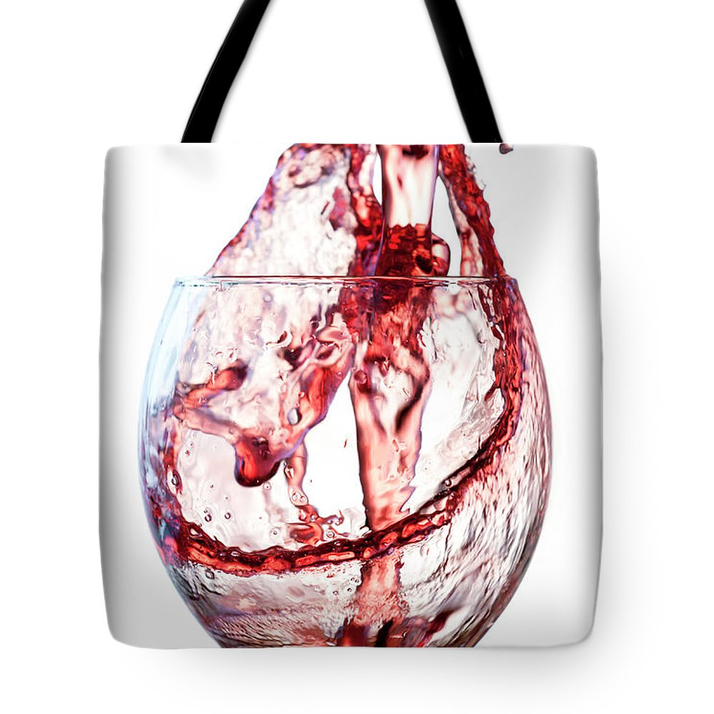 Spray Tote Bag featuring the photograph Red Wine Splash by Socjosenspg