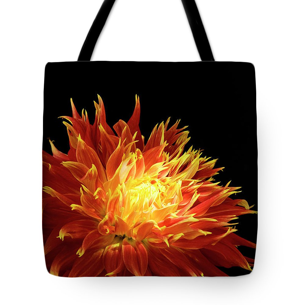 Firework Display Tote Bag featuring the photograph Red-yellow Dahlia Flower by Eyepix