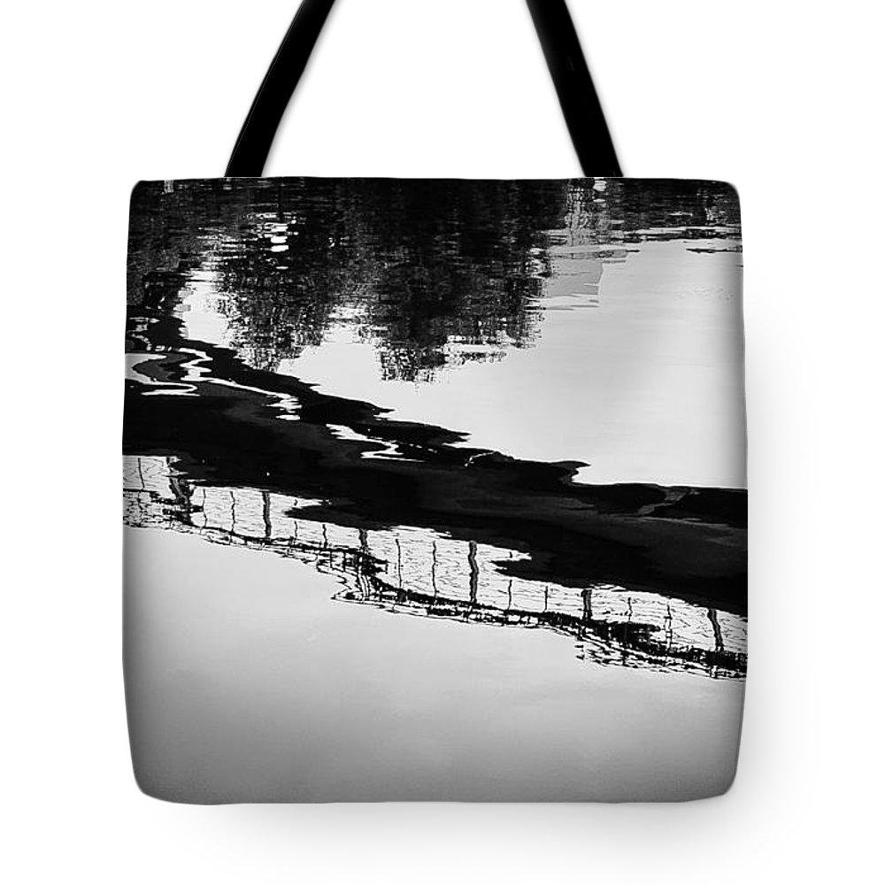 Bridge Photograph Tote Bag featuring the photograph Reflected Bridge by Desmond Raymond