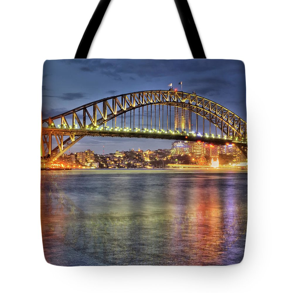 Scenics Tote Bag featuring the photograph Reflected Harbour Bridge by Roevin