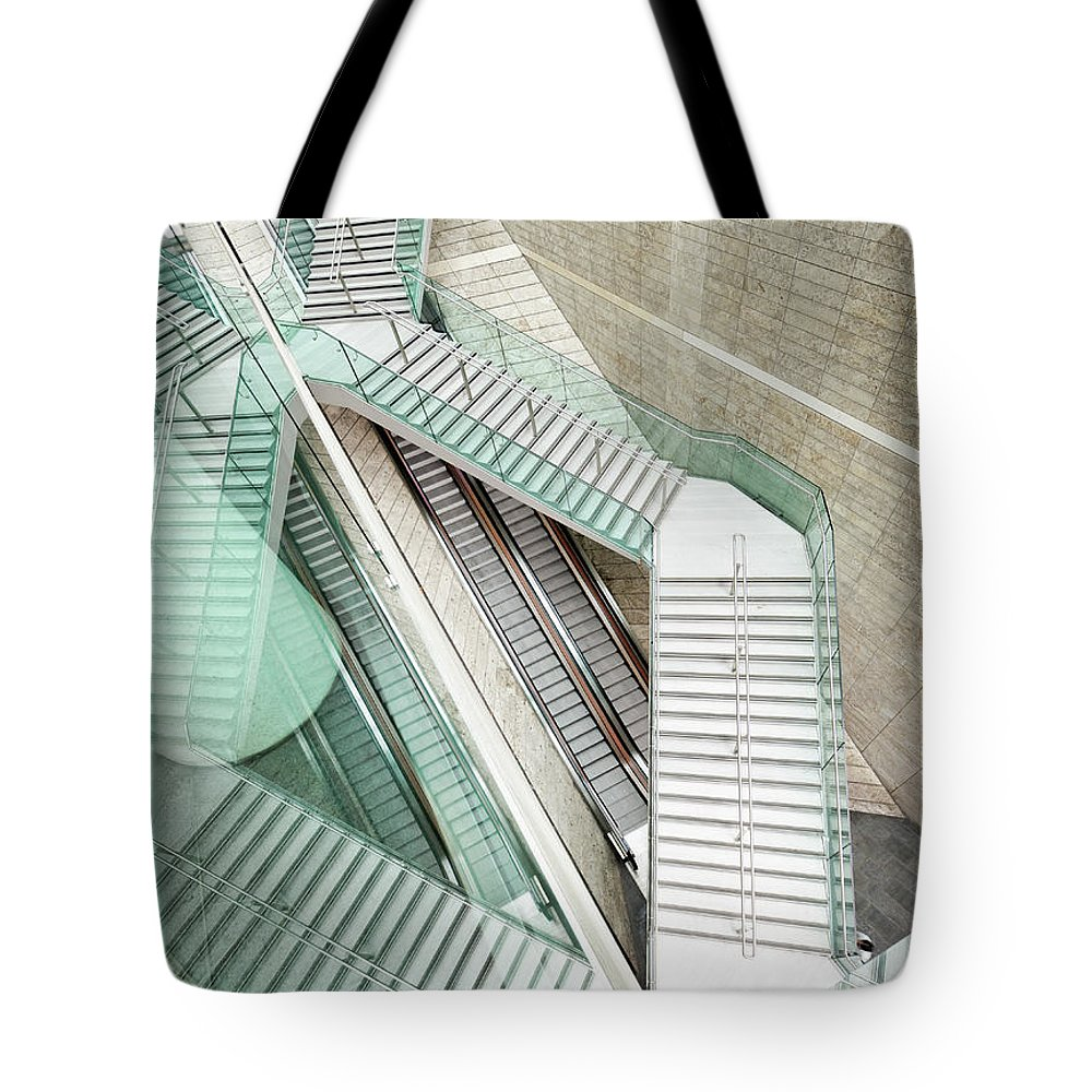 Long Tote Bag featuring the photograph Reflected Modern Architecture - Winding by Georgeclerk