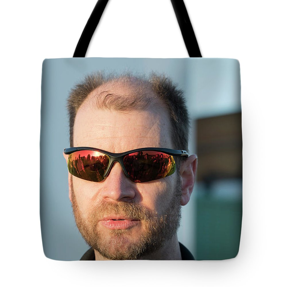 Portrait Tote Bag featuring the photograph Reflecting On A Mission by Alex Lapidus