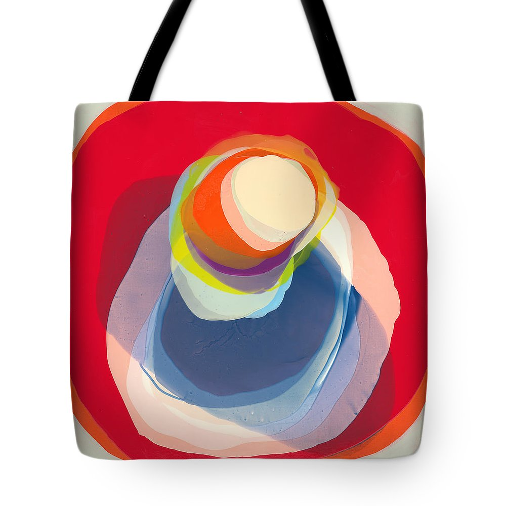 Abstract Tote Bag featuring the painting Reflective by Claire Desjardins