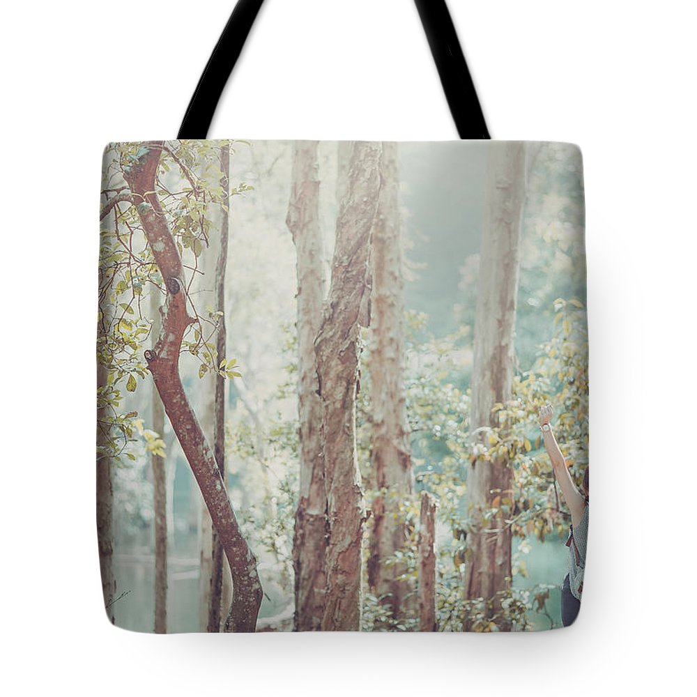 Three Quarter Length Tote Bag featuring the photograph Relaxing In Nature By Stretching And by D3sign