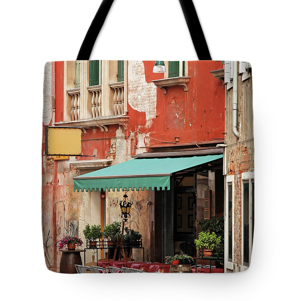 Empty Tote Bag featuring the photograph Restaurant In Venice by Mammuth