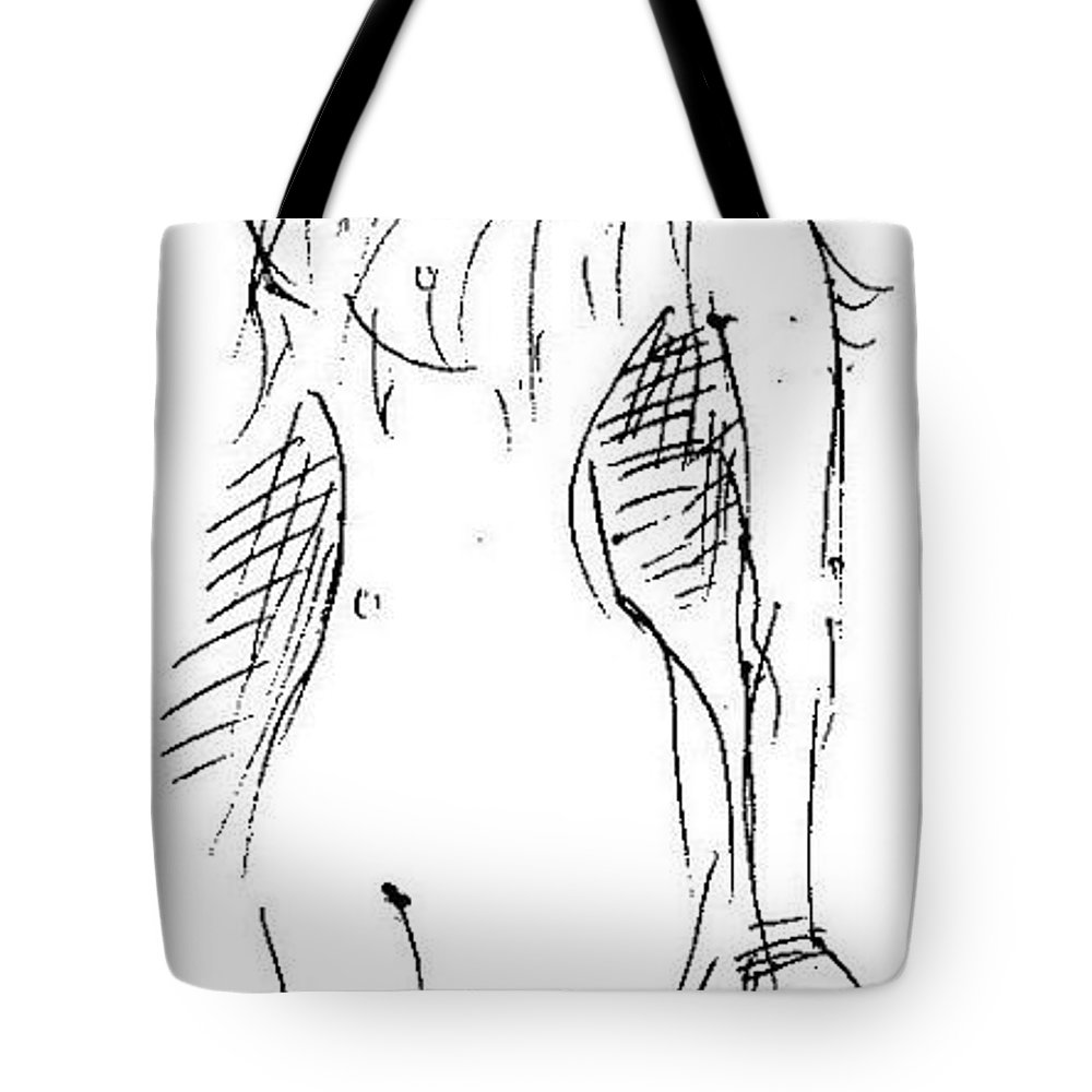 Pen Work On Paper Tote Bag featuring the drawing Restless by Mustafa Attari