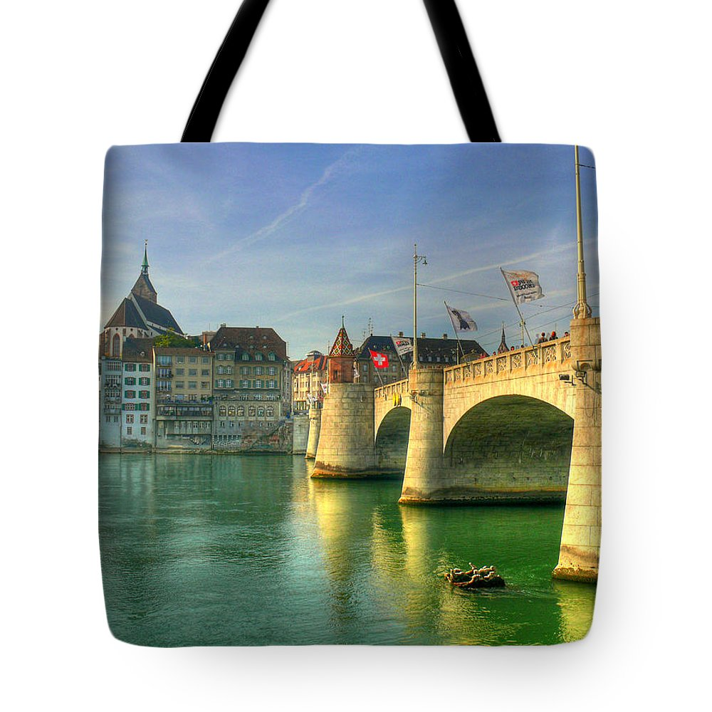 Outdoors Tote Bag featuring the photograph Rhine Bridge In Basel by Richard Fairless
