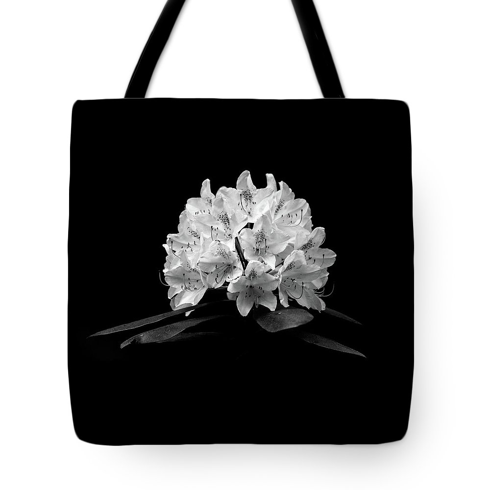 Black And White Flower Photography Tote Bag featuring the photograph Rhododendron by Trevor Slauenwhite