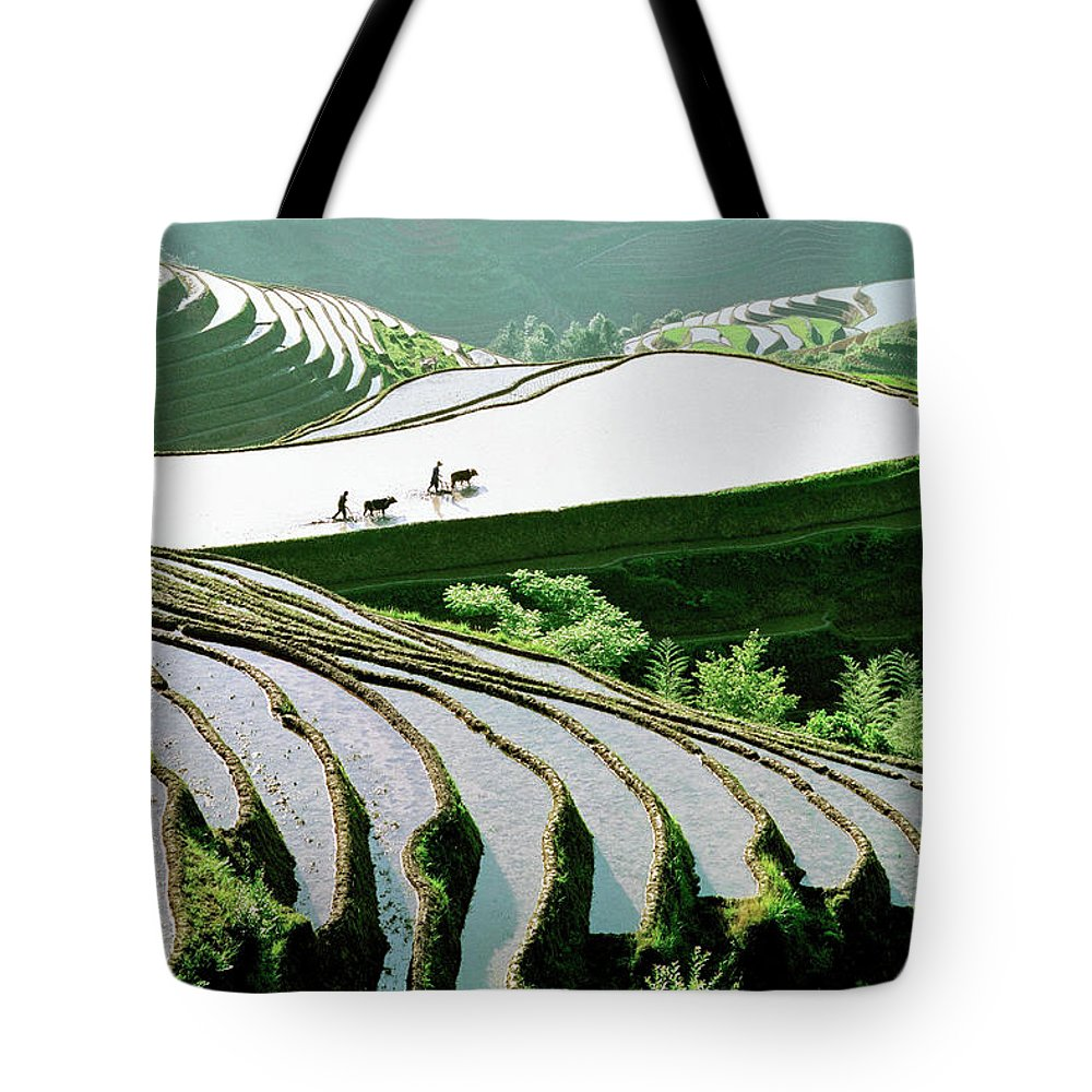 Chinese Culture Tote Bag featuring the photograph Rice Terraces by Kingwu