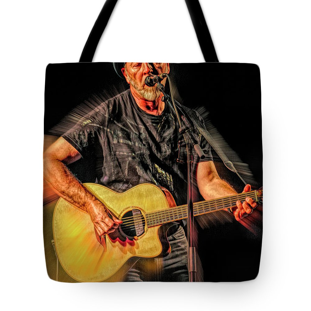 Richard Thompson Tote Bag featuring the mixed media Richard Thompson by Mal Bray