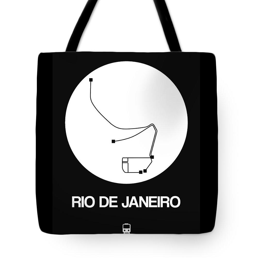 Vacation Tote Bag featuring the digital art Rio De Janeiro White Subway Map by Naxart Studio