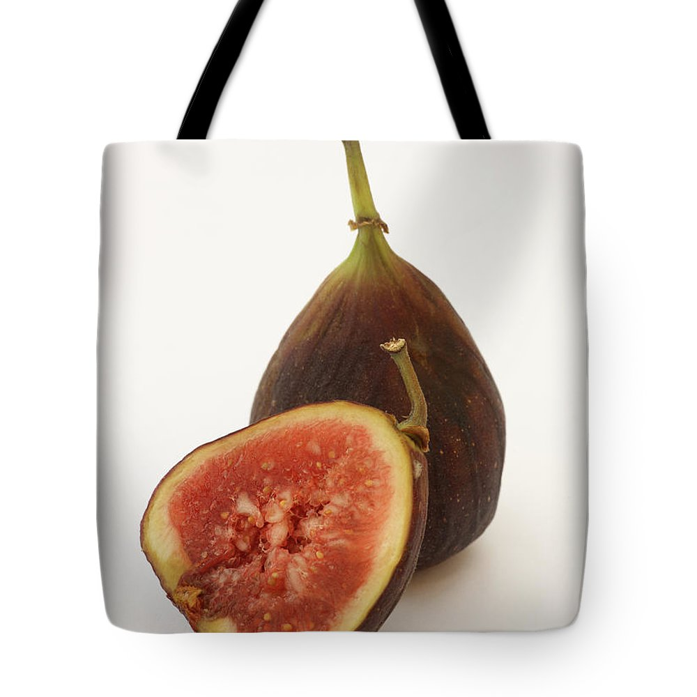 White Background Tote Bag featuring the photograph Ripe, Fresh Figs On White Background by Rosemary Calvert