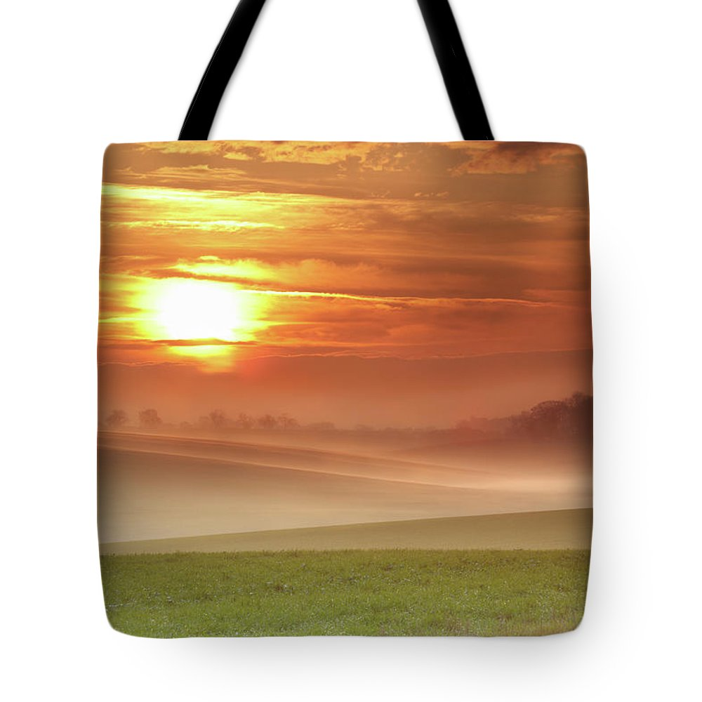 Tranquility Tote Bag featuring the photograph Ripples In Mist by Andy Freer