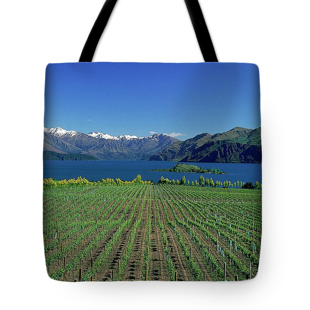 Snow Tote Bag featuring the photograph Rippon Vineyard & Lake Wanaka, South by Robin Smith
