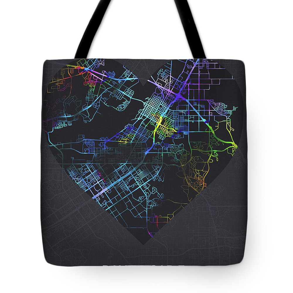 Riverside Tote Bag featuring the mixed media Riverside California City Heart Street Map Love Dark Mode by Design Turnpike