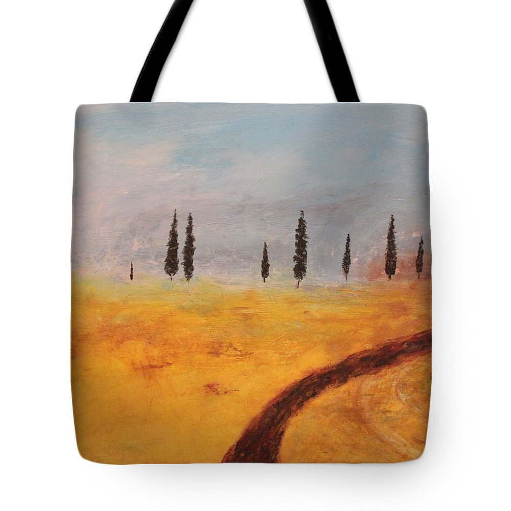 Italy Italian Wine Vineyard Anniversary California Europe Grapes Europe Tuscany Yellow Field Vacation Roads Dirt Road Path Tote Bag featuring the painting Roads To Tuscany by Kelly Gowan