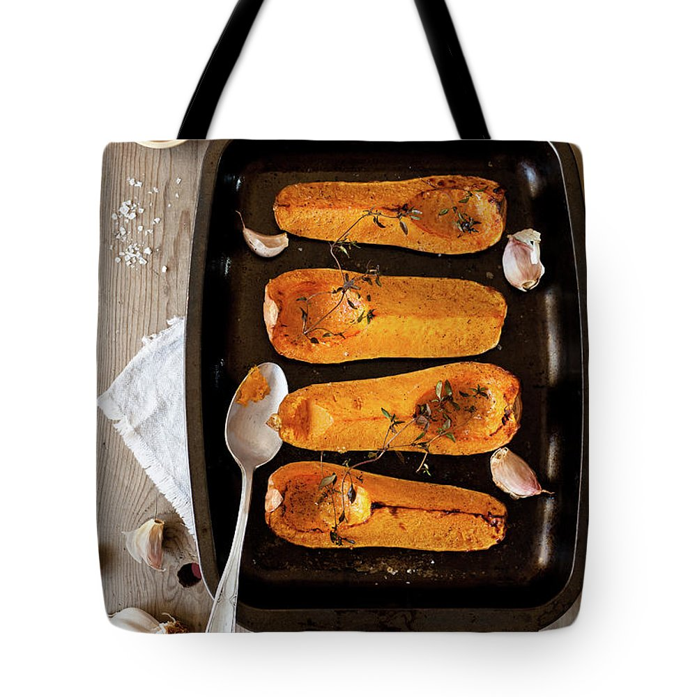 Spoon Tote Bag featuring the photograph Roasted Butternut Squash by Sarka Babicka
