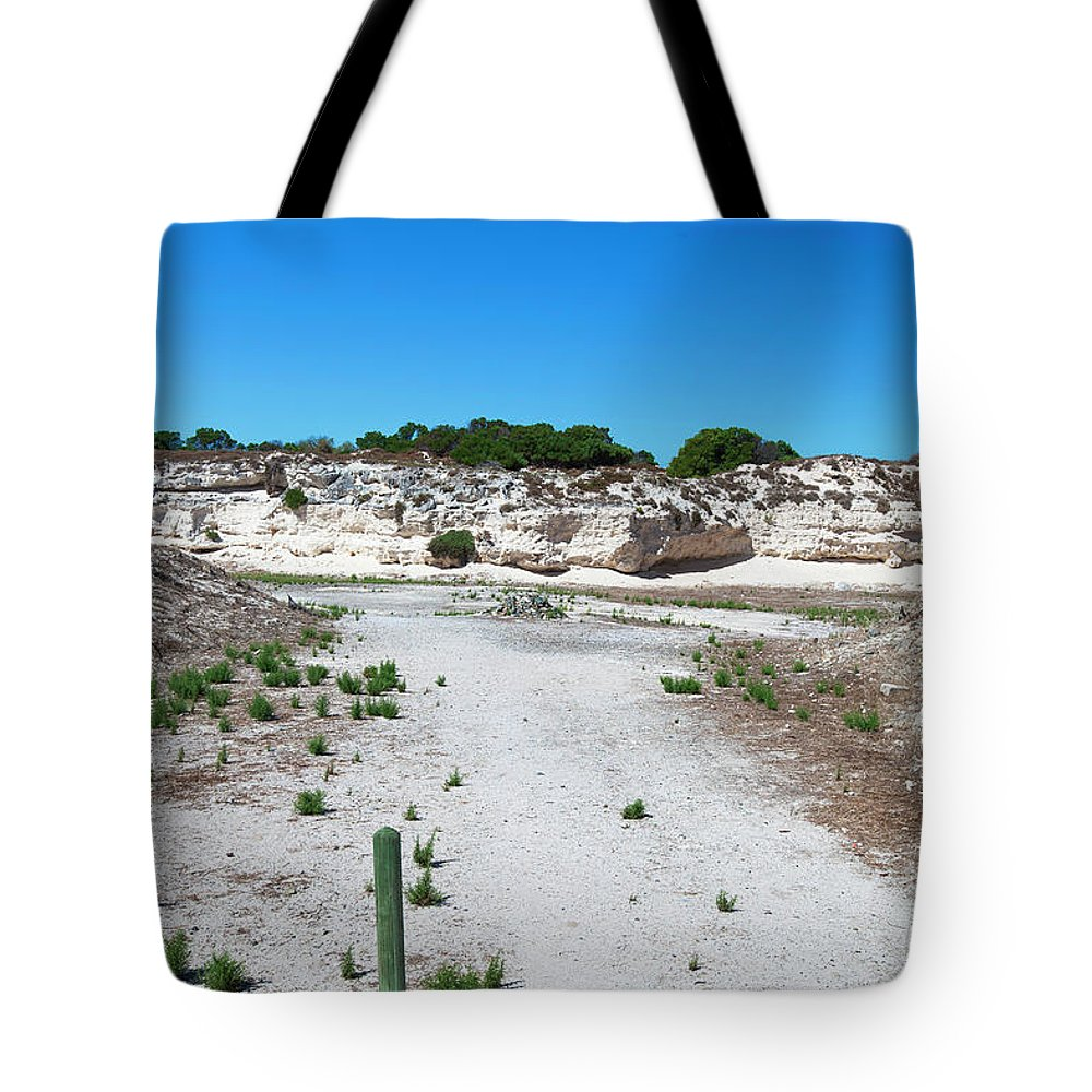 Tranquility Tote Bag featuring the photograph Robben Island Quarry Stone Pile by Iselin Valvik Photography