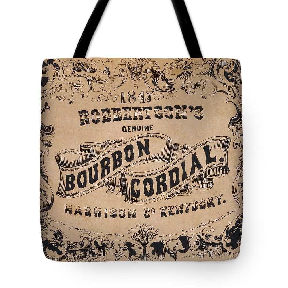 Whisky Tote Bag featuring the photograph Robbertson's Kentucky Bourbon Cordial Ad C. 1857 by Daniel Hagerman