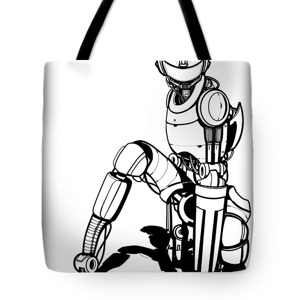 Robot Tote Bag featuring the drawing Robot by Aleksandra Tot-Bulajic