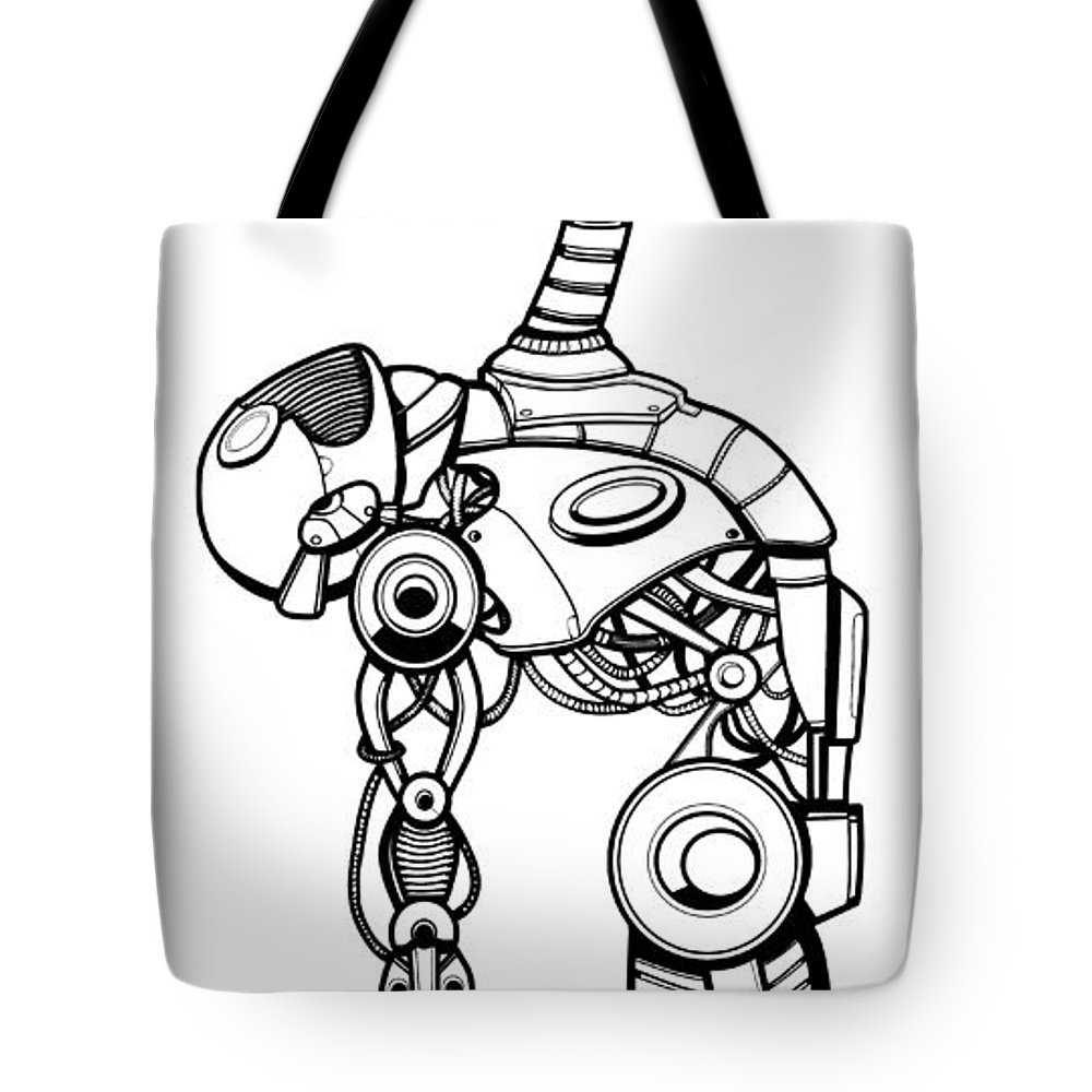 Robot Tote Bag featuring the digital art Robot Charging by Aleksandra Tot-Bulajic