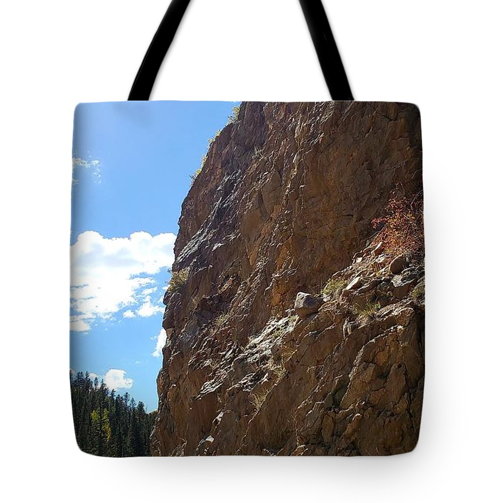 Landscape; Rocky Mountainside; Mountains; Nature Tote Bag featuring the photograph Rocky Bend by Tonya Sisco