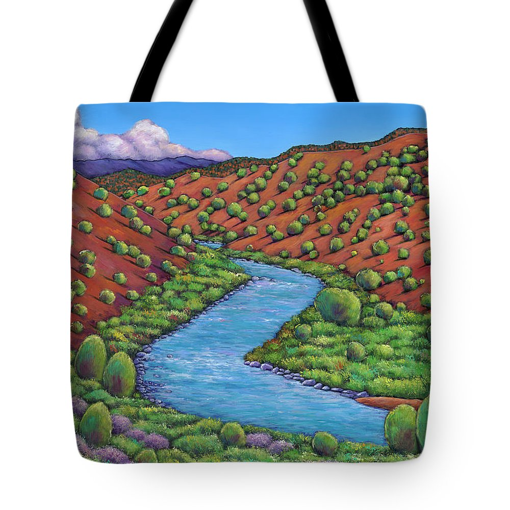 Landscape Tote Bag featuring the painting Rolling Rio Grande by Johnathan Harris