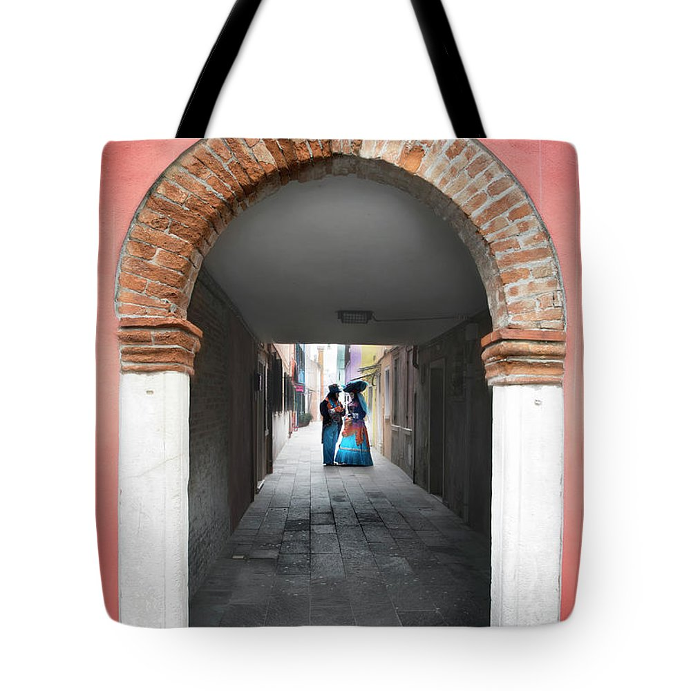 Carnival Tote Bag featuring the photograph Romance In Burano by Linda D Lester
