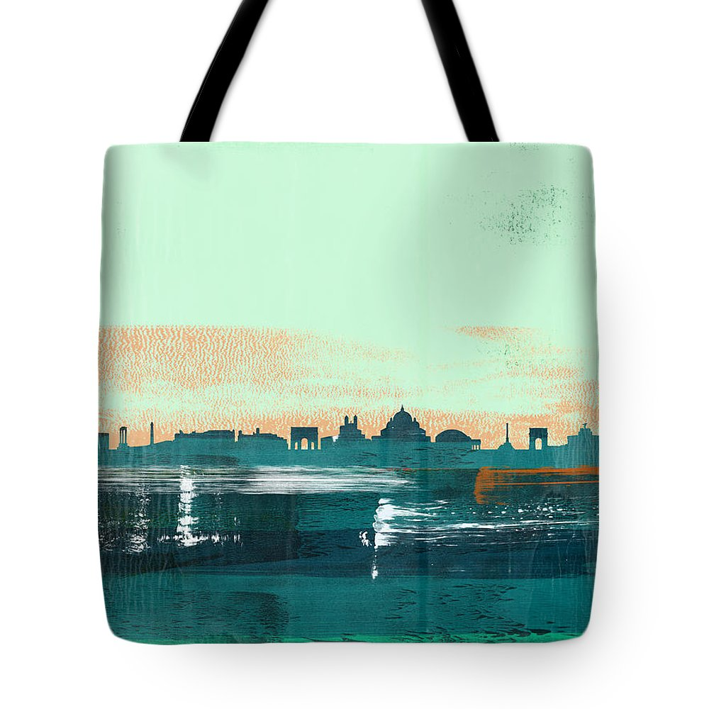 Rome Tote Bag featuring the mixed media Rome Abstract Skyline I by Naxart Studio