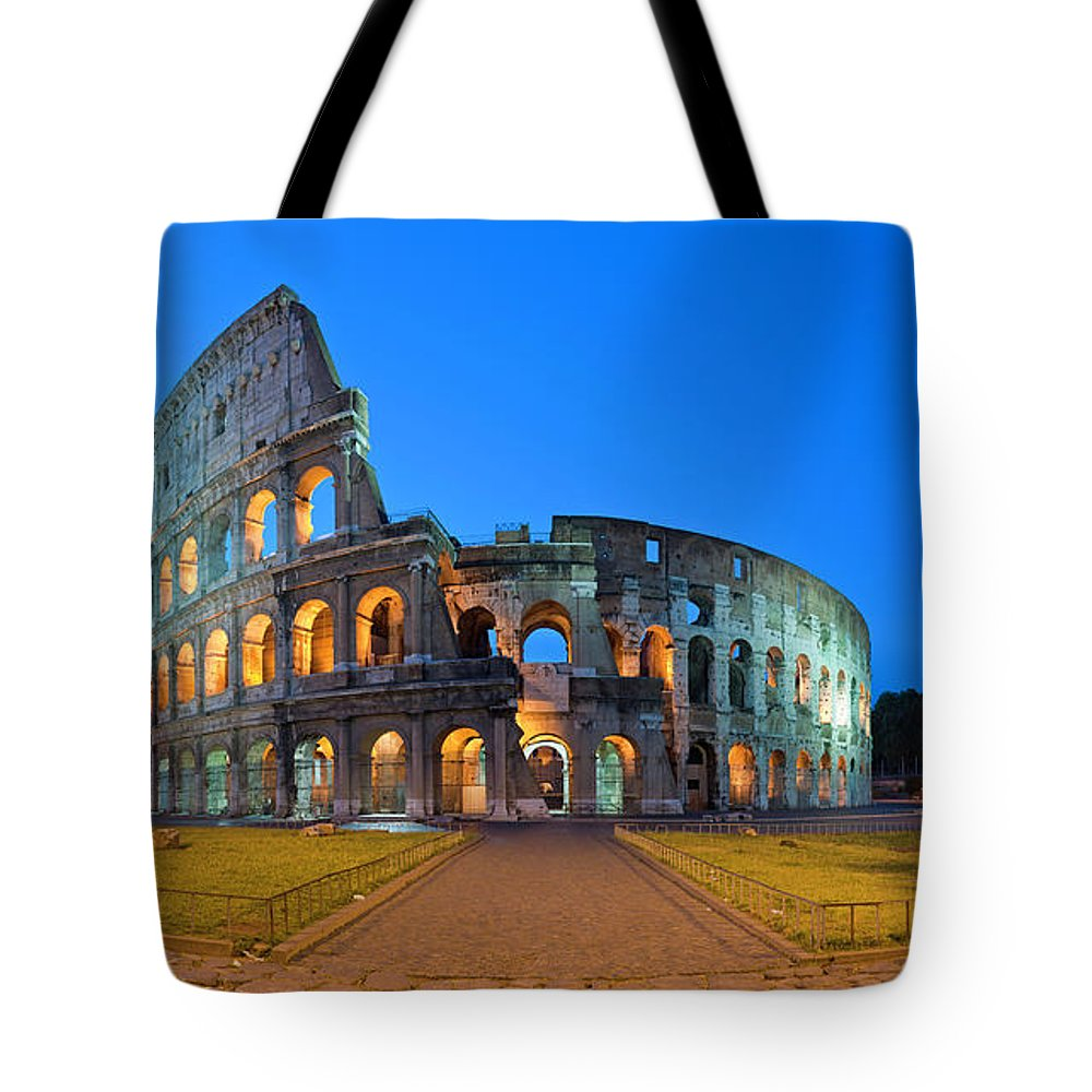 Arch Tote Bag featuring the photograph Rome Coliseum Ancient Roman by Fotovoyager