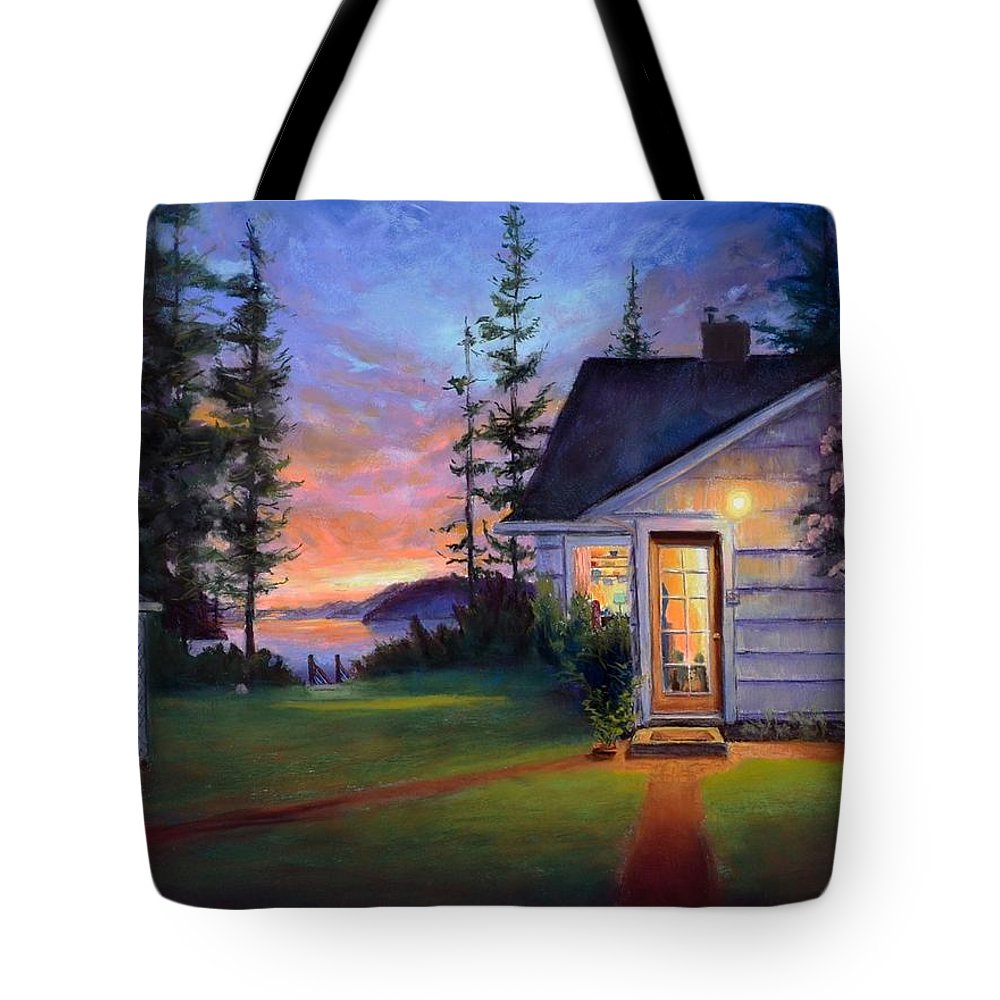 Nocturne Tote Bag featuring the painting Romney's Retreat - Skagit by Lynee Sapere