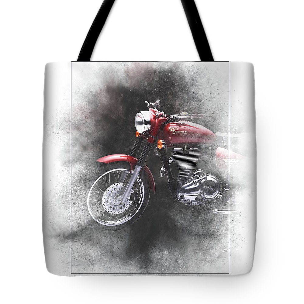 Royal Enfield Tote Bag featuring the mixed media Royal Enfield Bullet Electra Efi Painting by Smart Aviation