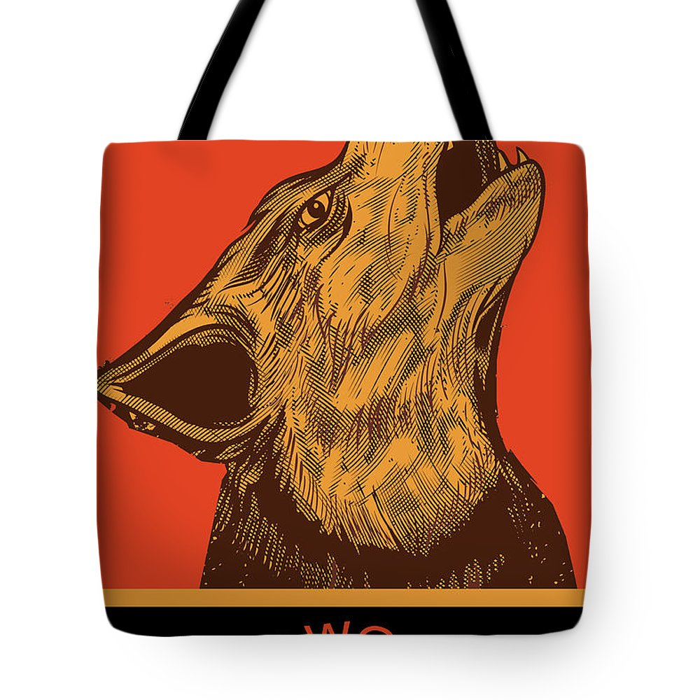 Sign Tote Bag featuring the painting Rubino Wolf Dog Love One World by Tony Rubino