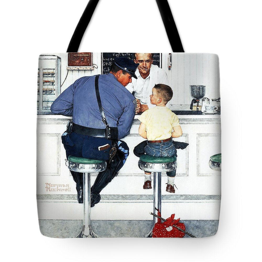 Boy Tote Bag featuring the drawing Runaway by Norman Rockwell