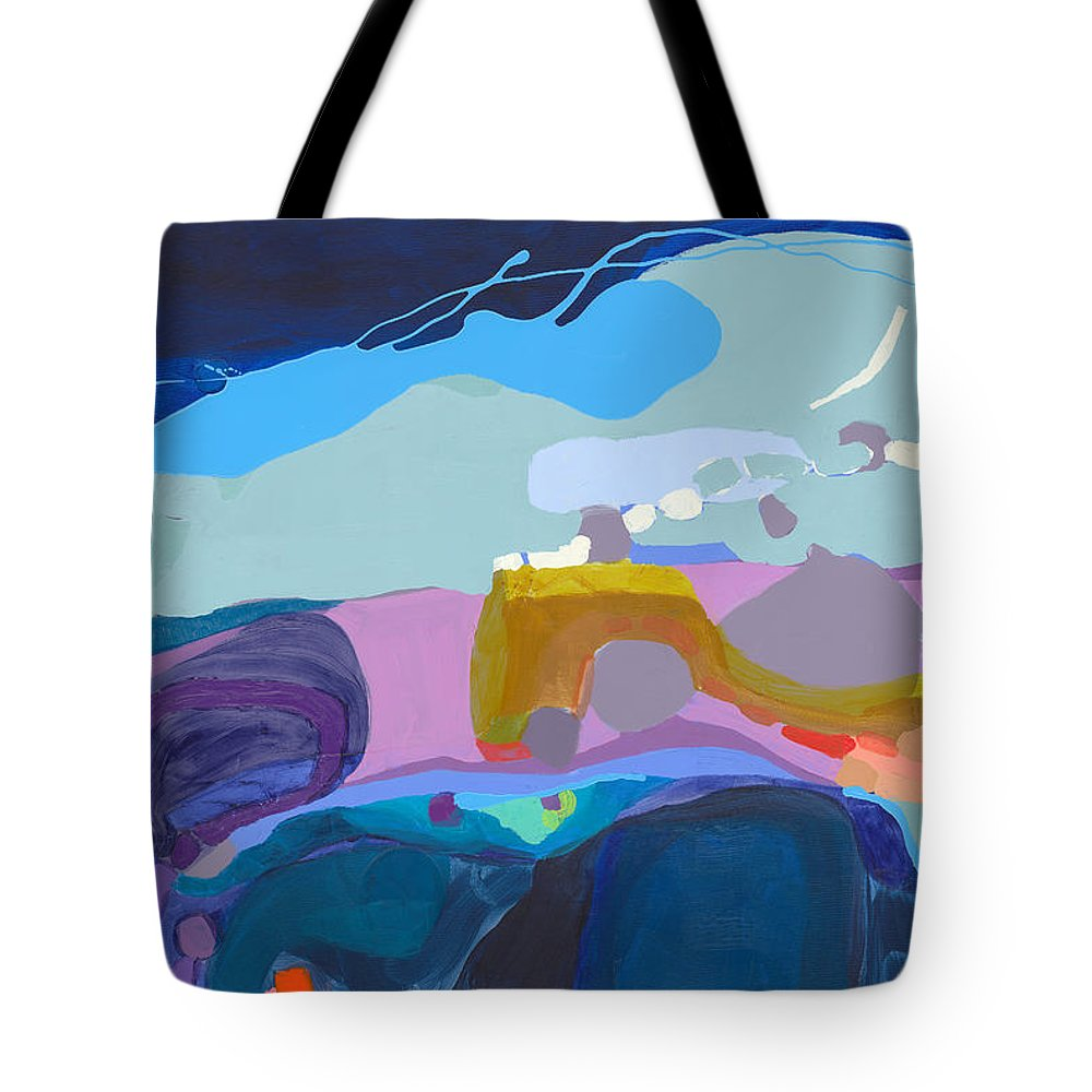 Abstract Tote Bag featuring the painting Rush Hour by Claire Desjardins