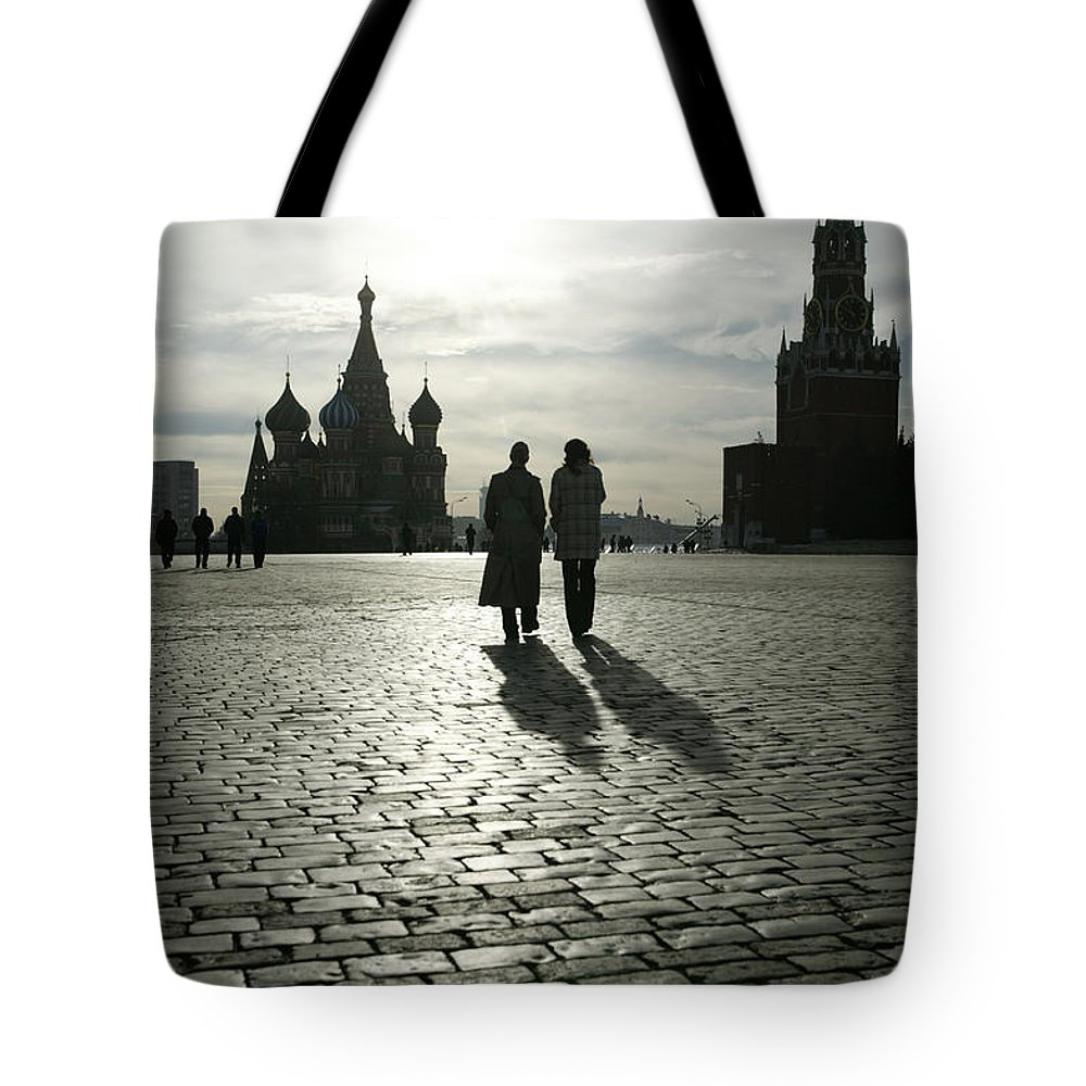 Shadow Tote Bag featuring the photograph Russia, Moscow, Red Square, Silhouette by Will & Deni Mcintyre