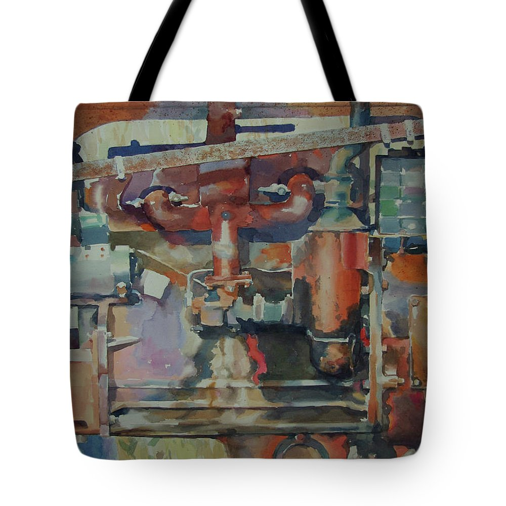 Still Life Tote Bag featuring the painting Rusty Engine by Hwang-Nam Chang