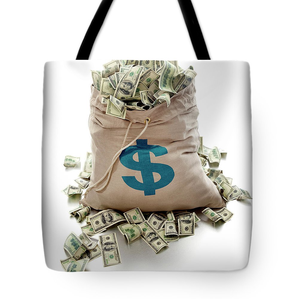 White Background Tote Bag featuring the photograph Sack Of Cash by John Kuczala
