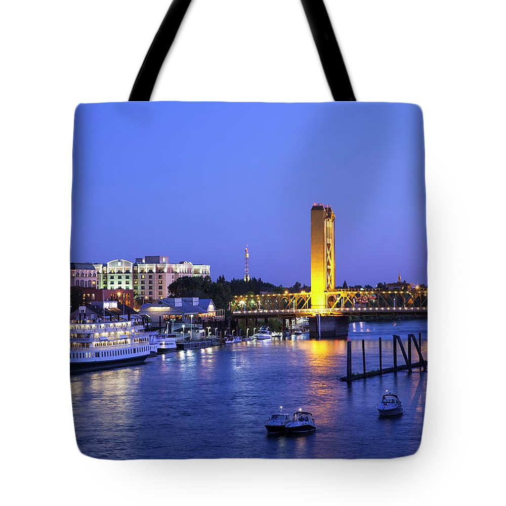 Scenics Tote Bag featuring the photograph Sacramento River And Tower Bridge At by Picturelake